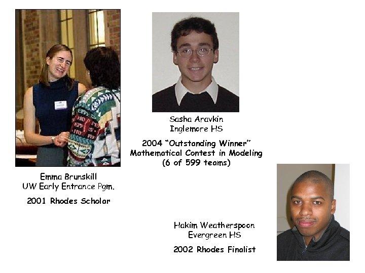"Sasha Aravkin Inglemore HS 2004 ""Outstanding Winner"" Mathematical Contest in Modeling (6 of 599"
