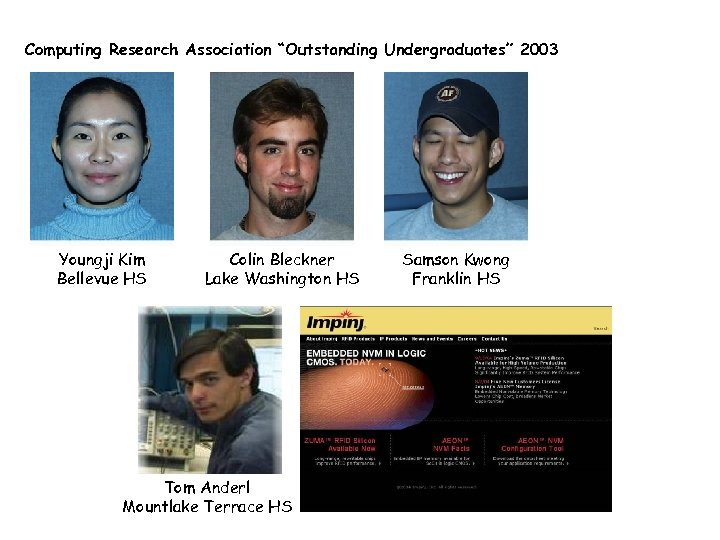 "Computing Research Association ""Outstanding Undergraduates"" 2003 Youngji Kim Bellevue HS Colin Bleckner Lake Washington"