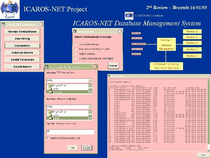 ICAROS-NET Project 2 nd Review – Brussels 16/01/03 ICAROS-NET Database Management System