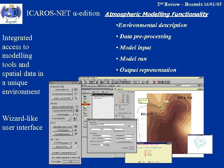 2 nd Review – Brussels 16/01/03 ICAROS-NET α-edition Atmospheric Modelling Functionality • Environmental description