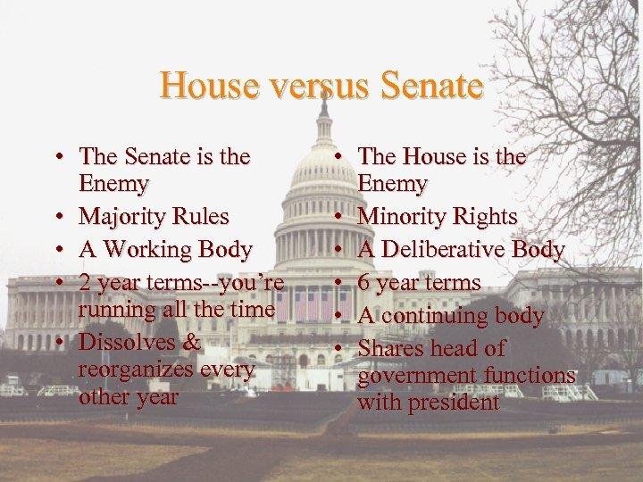 House versus Senate • The Senate is the Enemy • Majority Rules • A