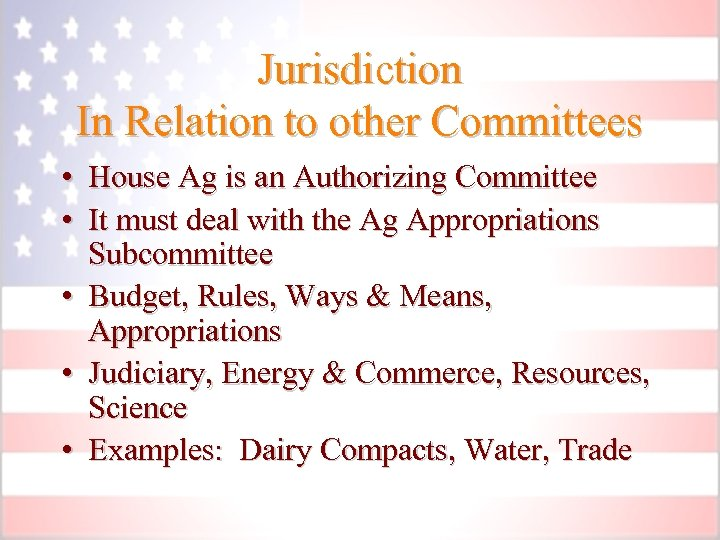 Jurisdiction In Relation to other Committees • House Ag is an Authorizing Committee •