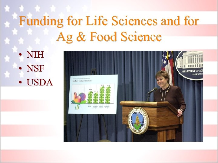 Funding for Life Sciences and for Ag & Food Science • NIH • NSF