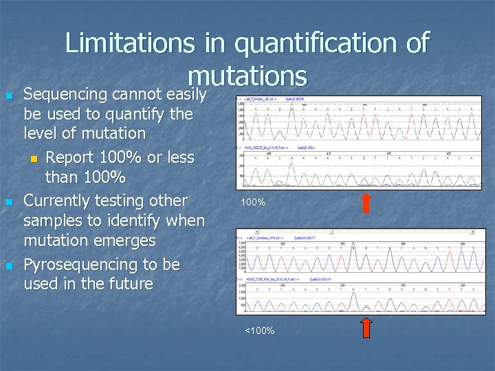 n n n Limitations in quantification of mutations Sequencing cannot easily be used to