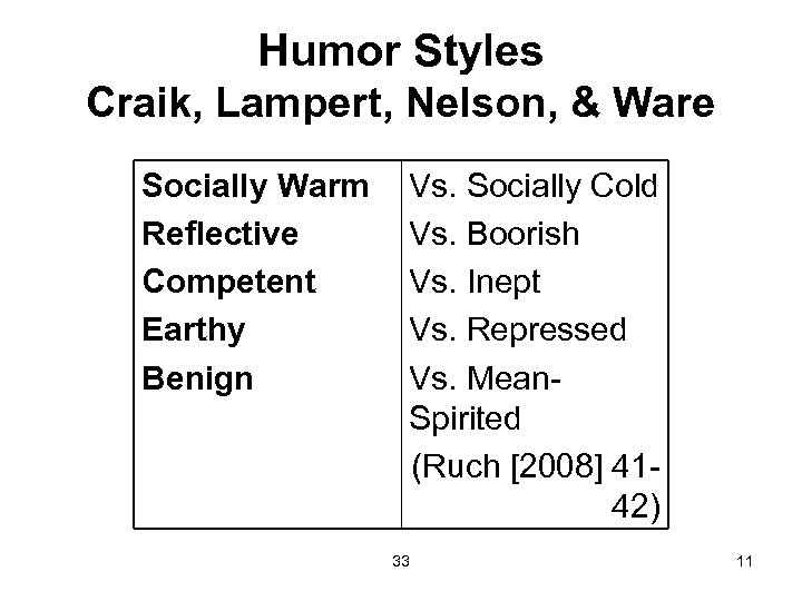 Humor Styles Craik, Lampert, Nelson, & Ware Socially Warm Reflective Competent Earthy Benign Vs.