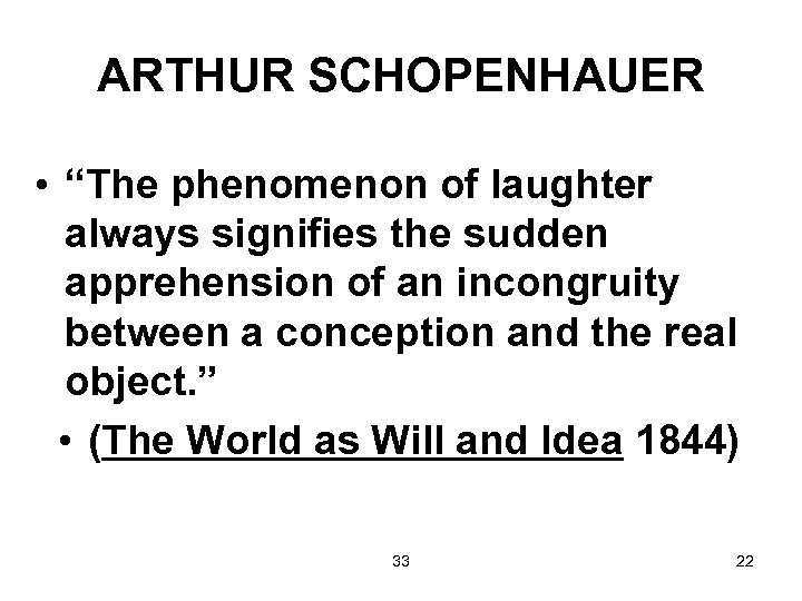 """ARTHUR SCHOPENHAUER • """"The phenomenon of laughter always signifies the sudden apprehension of an"""