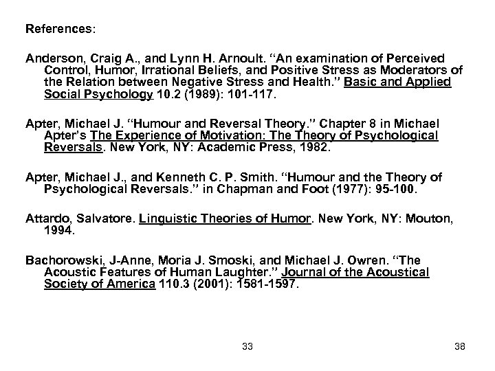 """References: Anderson, Craig A. , and Lynn H. Arnoult. """"An examination of Perceived Control,"""