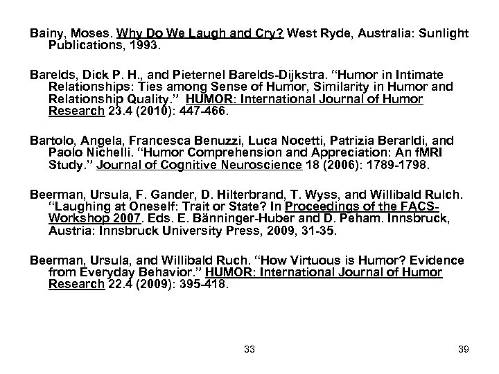 Bainy, Moses. Why Do We Laugh and Cry? West Ryde, Australia: Sunlight Publications, 1993.
