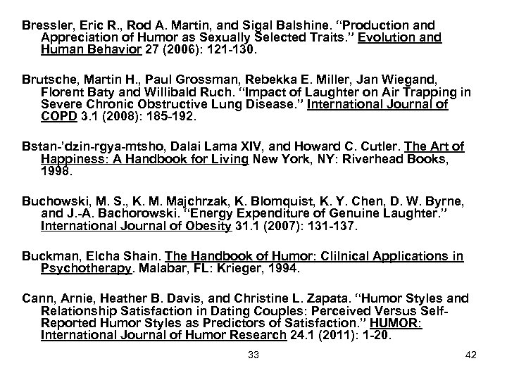 """Bressler, Eric R. , Rod A. Martin, and Sigal Balshine. """"Production and Appreciation of"""