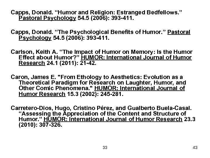 "Capps, Donald. ""Humor and Religion: Estranged Bedfellows. "" Pastoral Psychology 54. 5 (2006): 393"