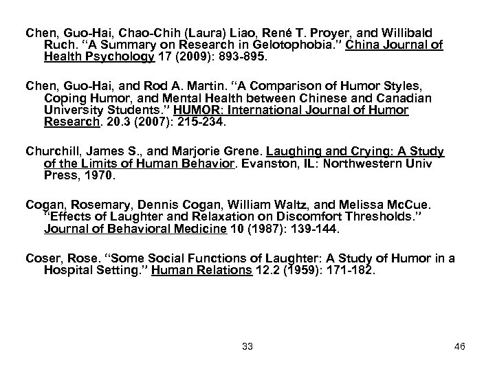 "Chen, Guo-Hai, Chao-Chih (Laura) Liao, René T. Proyer, and Willibald Ruch. ""A Summary on"