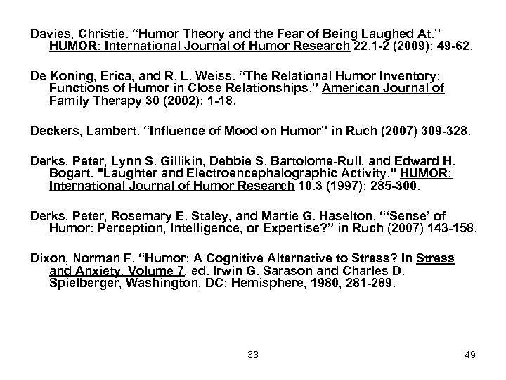 "Davies, Christie. ""Humor Theory and the Fear of Being Laughed At. "" HUMOR: International"