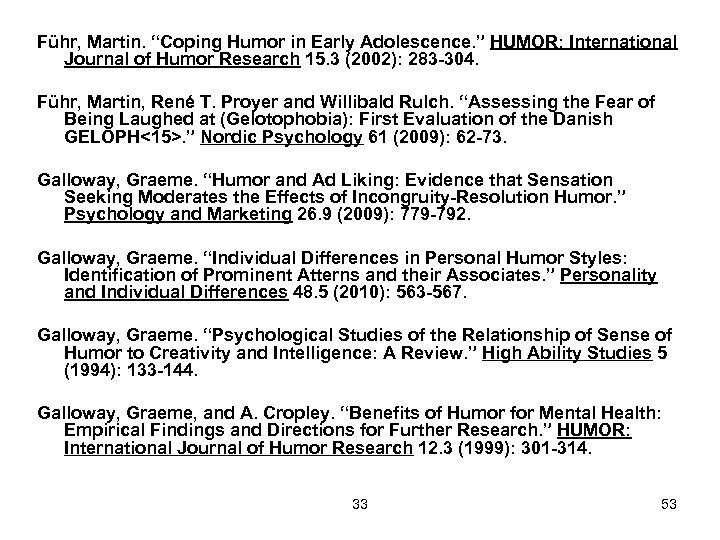 "Führ, Martin. ""Coping Humor in Early Adolescence. "" HUMOR: International Journal of Humor Research"