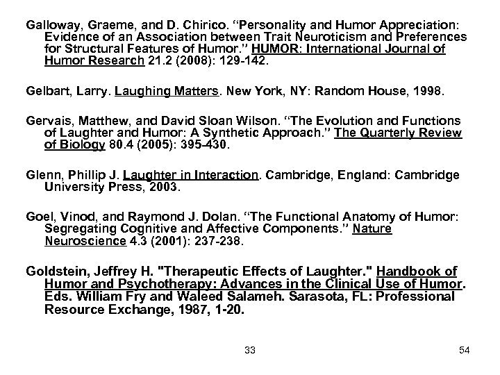 "Galloway, Graeme, and D. Chirico. ""Personality and Humor Appreciation: Evidence of an Association between"