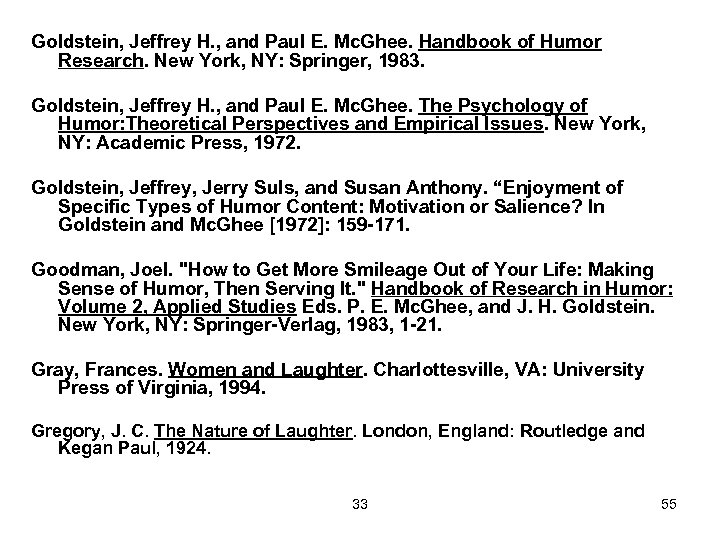 Goldstein, Jeffrey H. , and Paul E. Mc. Ghee. Handbook of Humor Research. New