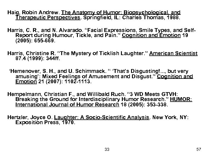 Haig, Robin Andrew. The Anatomy of Humor: Biopsychological, and Therapeutic Perspectives. Springfield, IL: Charles