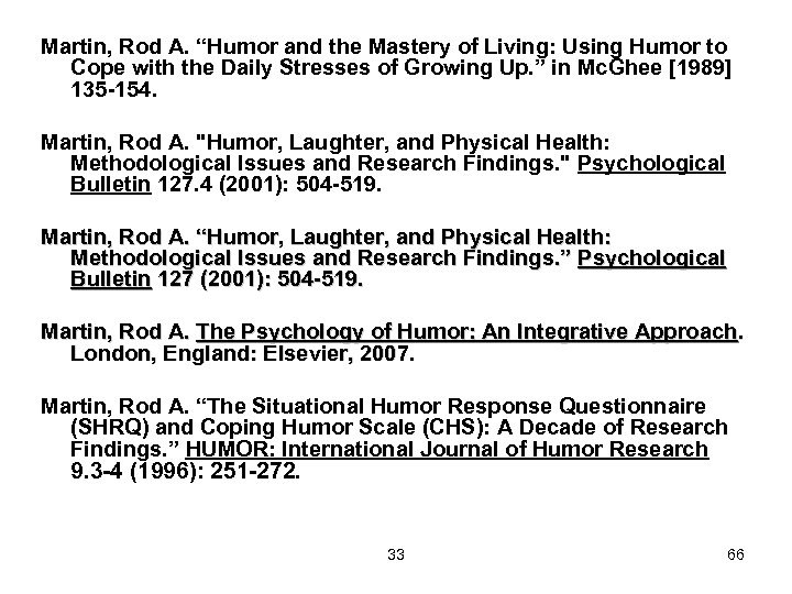 "Martin, Rod A. ""Humor and the Mastery of Living: Using Humor to Cope with"