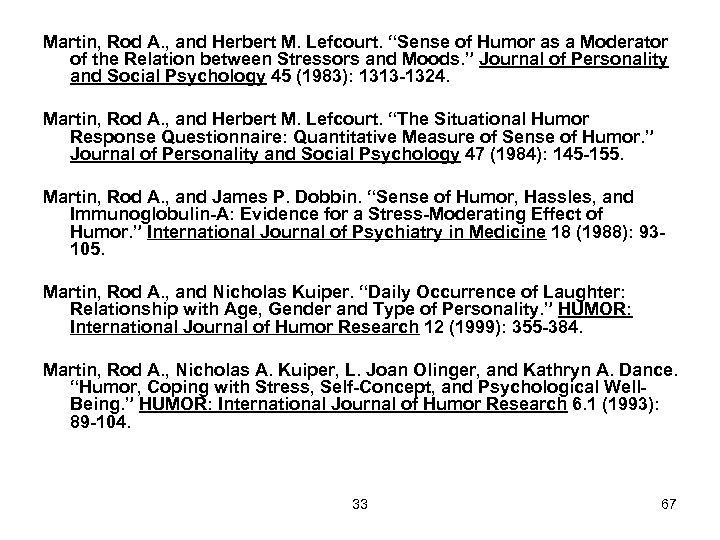 "Martin, Rod A. , and Herbert M. Lefcourt. ""Sense of Humor as a Moderator"