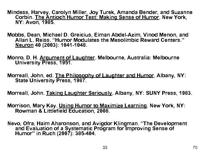 Mindess, Harvey, Carolyn Miller, Joy Turek, Amanda Bender, and Suzanne Corbin. The Antioch Humor