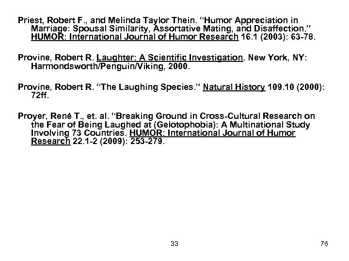 """Priest, Robert F. , and Melinda Taylor Thein. """"Humor Appreciation in Marriage: Spousal Similarity,"""
