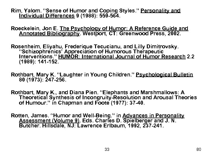 """Rim, Yalom. """"Sense of Humor and Coping Styles. """" Personality and Individual Differences 9"""