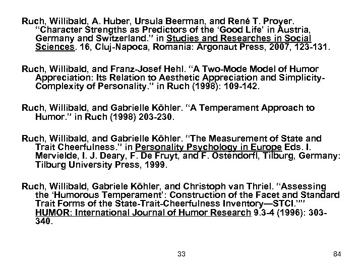 "Ruch, Willibald, A. Huber, Ursula Beerman, and René T. Proyer. ""Character Strengths as Predictors"