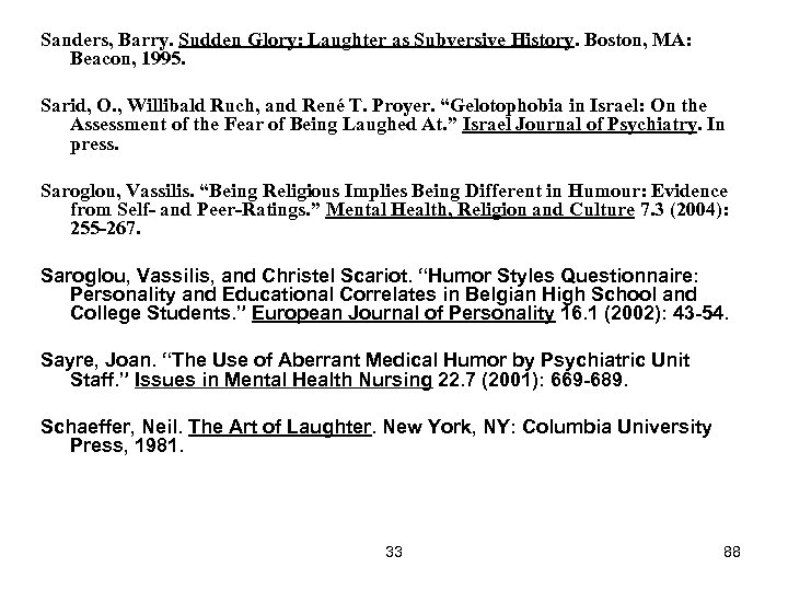 Sanders, Barry. Sudden Glory: Laughter as Subversive History. Boston, MA: Beacon, 1995. Sarid, O.