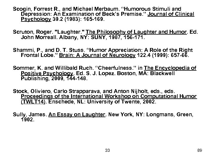 "Scogin, Forrest R. , and Michael Merbaum. ""Humorous Stimuli and Depression: An Examination of"