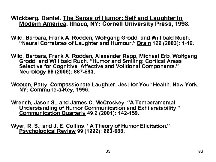 Wickberg, Daniel. The Sense of Humor: Self and Laughter in Modern America. Ithaca, NY: