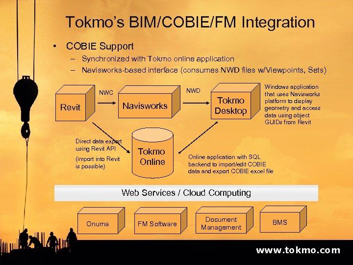 Tokmo's BIM/COBIE/FM Integration • COBIE Support – Synchronized with Tokmo online application – Navisworks-based