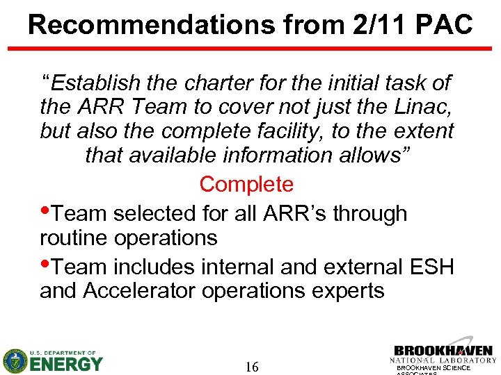 """Recommendations from 2/11 PAC """"Establish the charter for the initial task of the ARR"""