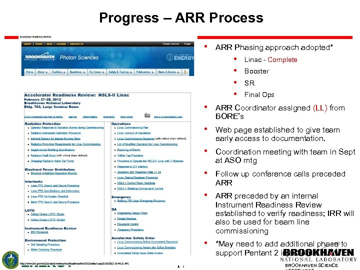 Progress – ARR Process • ARR Phasing approach adopted* • • Linac - Complete