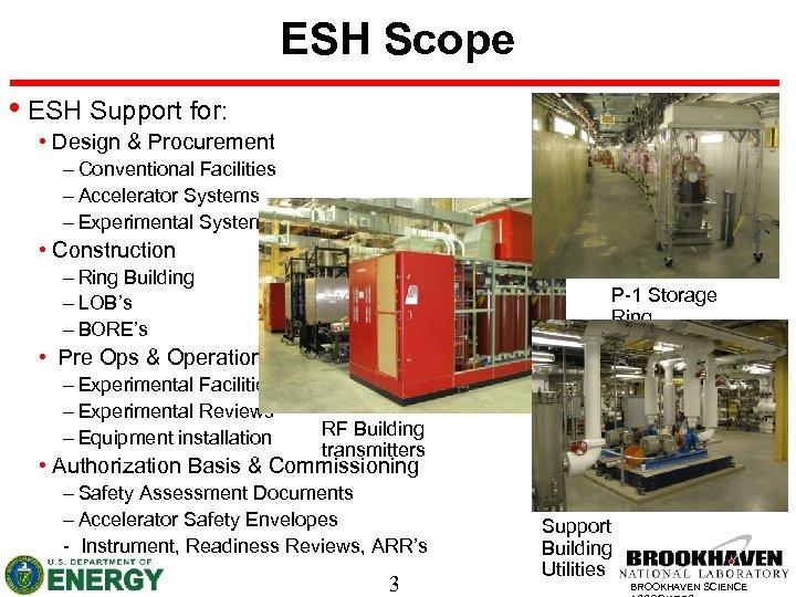 ESH Scope • ESH Support for: • Design & Procurement – Conventional Facilities –