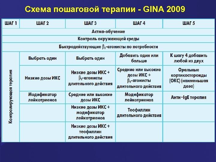 Схема пошаговой терапии - GINA 2009