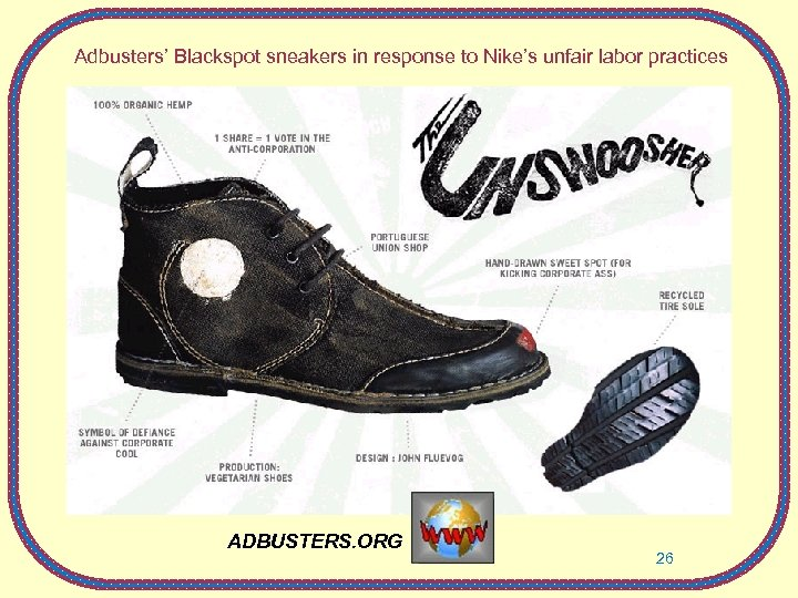 Adbusters' Blackspot sneakers in response to Nike's unfair labor practices ADBUSTERS. ORG 26