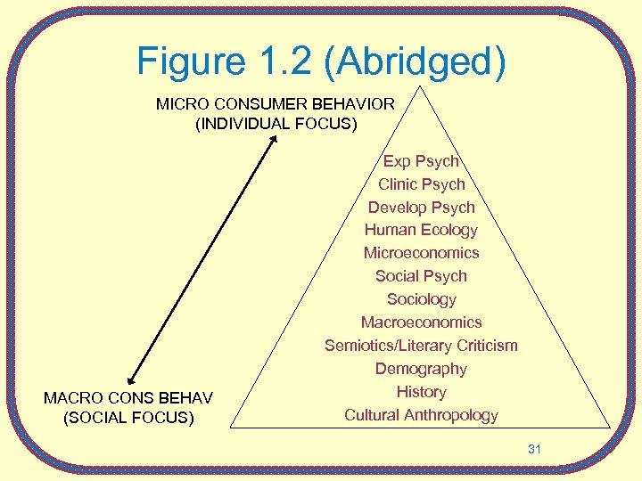Figure 1. 2 (Abridged) MICRO CONSUMER BEHAVIOR (INDIVIDUAL FOCUS) MACRO CONS BEHAV (SOCIAL FOCUS)