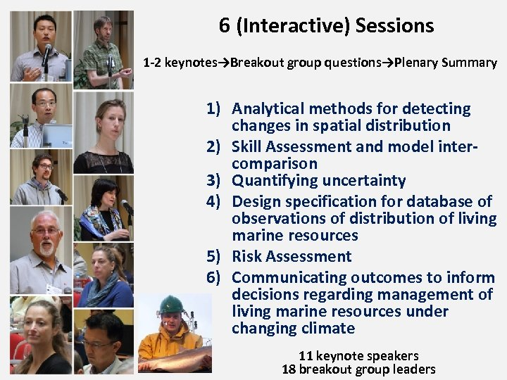 6 (Interactive) Sessions 1 -2 keynotes→Breakout group questions→Plenary Summary 1) Analytical methods for detecting