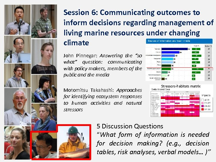 Session 6: Communicating outcomes to inform decisions regarding management of living marine resources under