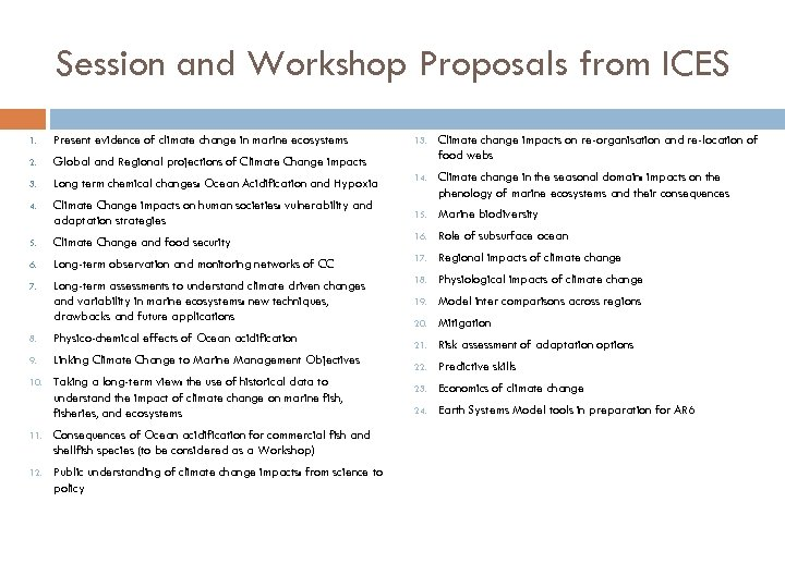 Session and Workshop Proposals from ICES 1. Present evidence of climate change in marine