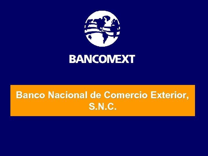 Banco Nacional de Comercio Exterior, S. N. C.
