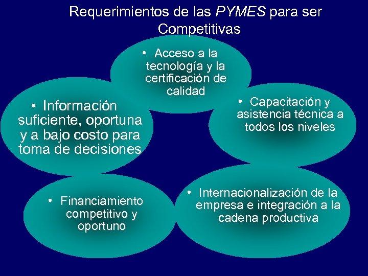 Requerimientos de las PYMES para ser Competitivas • Acceso a la tecnología y la