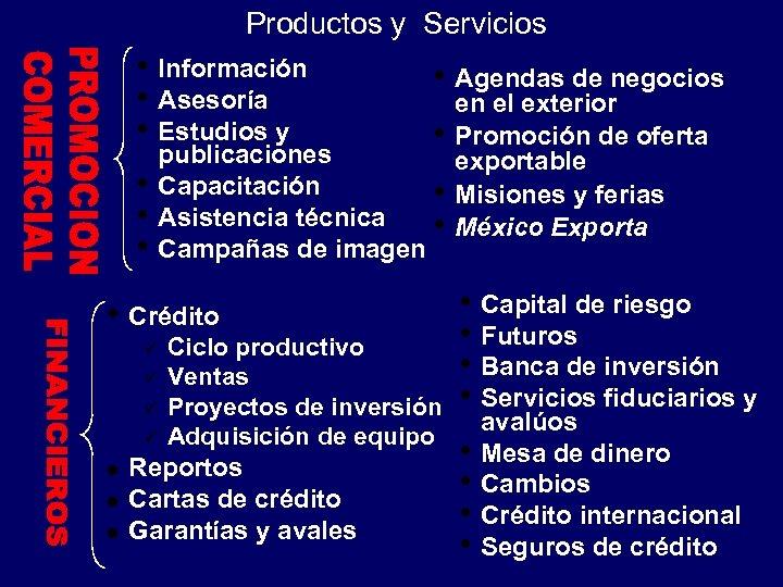 Productos y Servicios • Información • Asesoría • Estudios y • • Agendas de