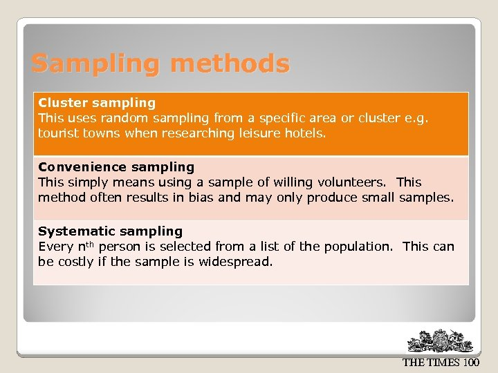 Sampling methods Cluster sampling This uses random sampling from a specific area or cluster