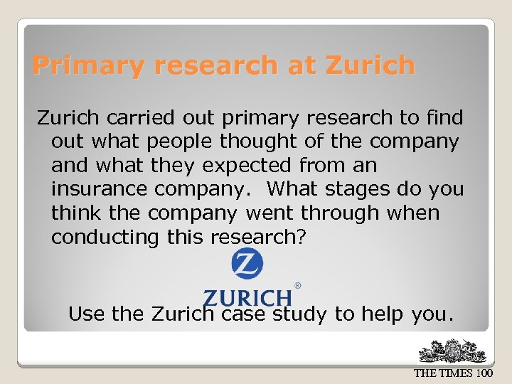 Primary research at Zurich carried out primary research to find out what people thought