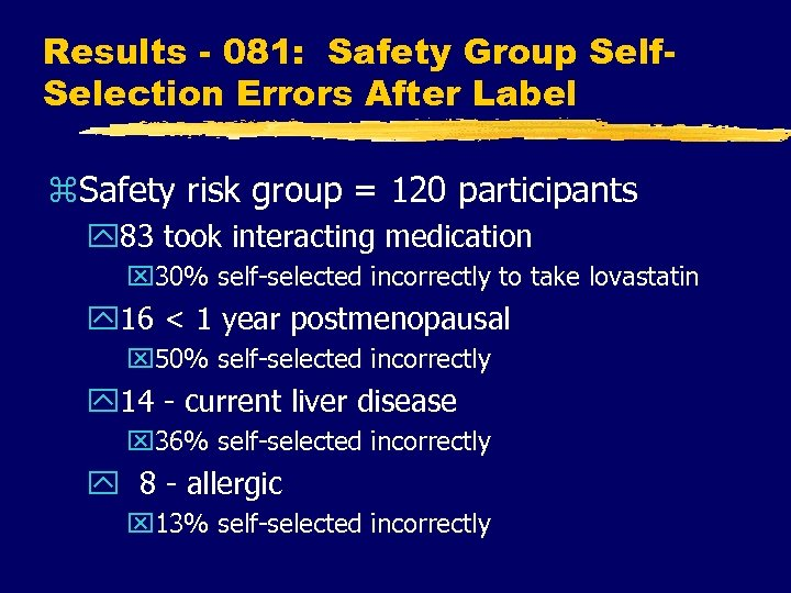 Results - 081: Safety Group Self. Selection Errors After Label z. Safety risk group