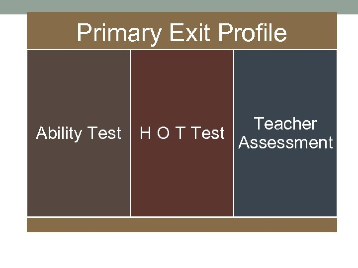 Primary Exit Profile Ability Test Teacher H O T Test Assessment