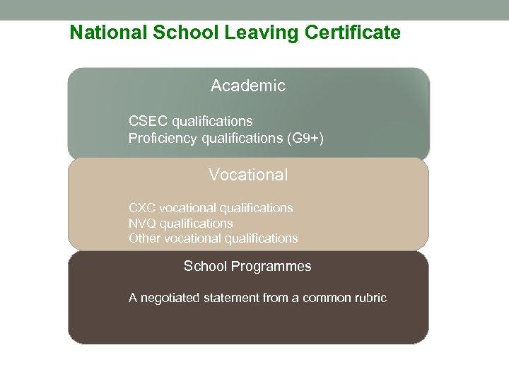 National School Leaving Certificate Academic CSEC qualifications Proficiency qualifications (G 9+) Vocational CXC vocational