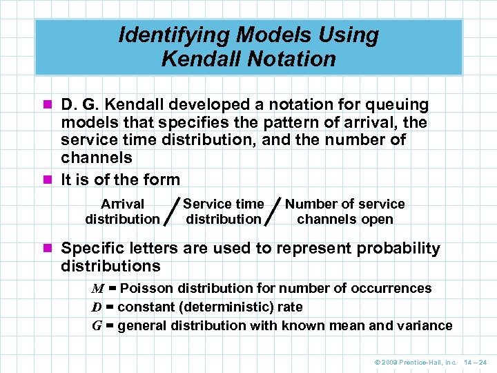 Identifying Models Using Kendall Notation n D. G. Kendall developed a notation for queuing