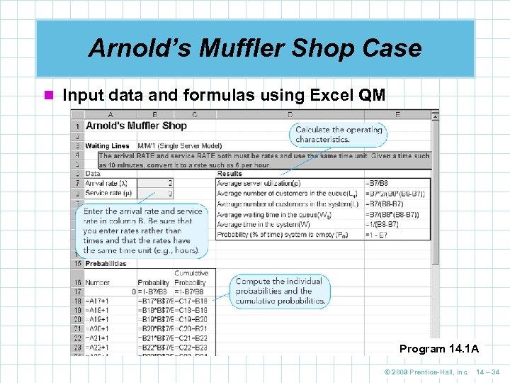 Arnold's Muffler Shop Case n Input data and formulas using Excel QM Program 14.