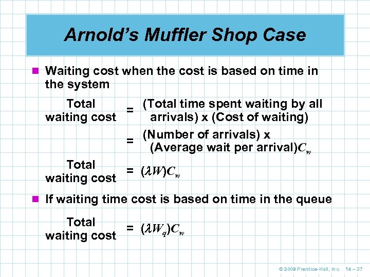 Arnold's Muffler Shop Case n Waiting cost when the cost is based on time